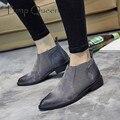 Chelsea Botas Pontas Do Dedo Do Pé Das Mulheres Do Vintage Ankle Boots Deslizar sobre Martin Botas Sapatos de Couro Genuíno Das Mulheres Da Marca de Moda Preto Cinza