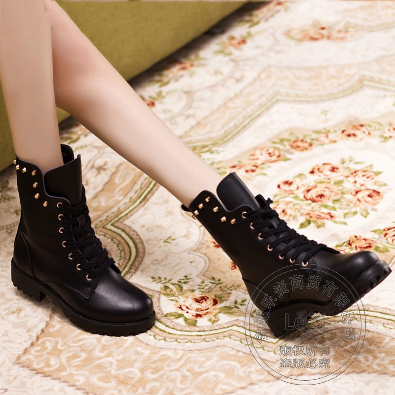 ФОТО Autumn Pure Color Full Grain Real Leather Boots Lace-up Rivets Mid-calf Adhesive Cuban Heel Women Fashion Round Toe Thick