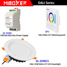 Miboxer DL-DOW25 AC110V 220V DALI 25W RGB+CCT LED Downlight DP3 DALI touch panel DL-POW1 DIN Rail DALI Bus Power Supply