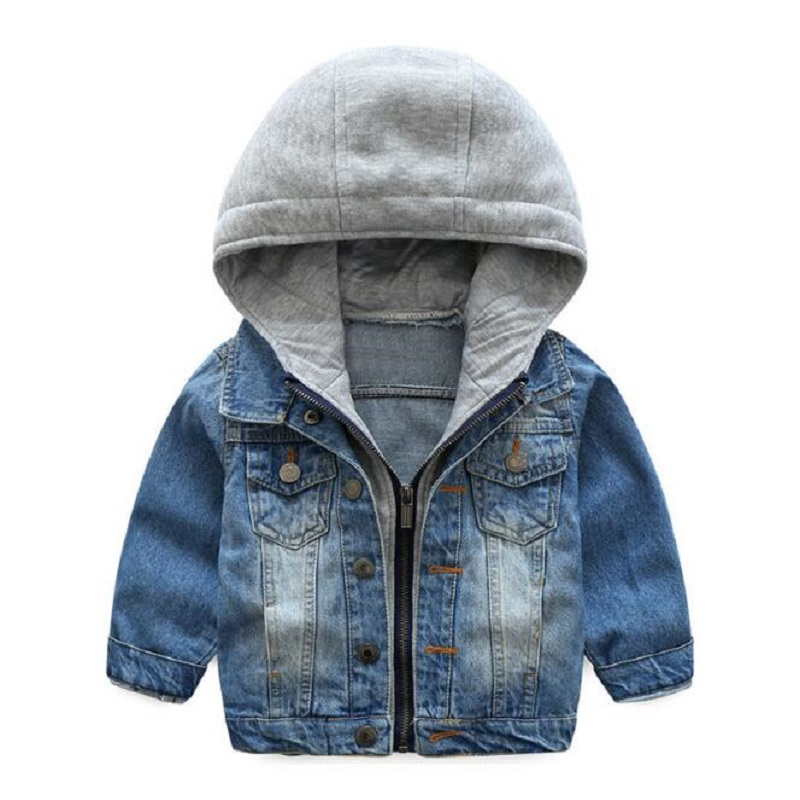2018 Kids Denim Jacket Boys Jean Coat Clothing Fashion Causal Girls Cardigan Children Outerwear Cowboy Toddler Hooded 2-8yrs