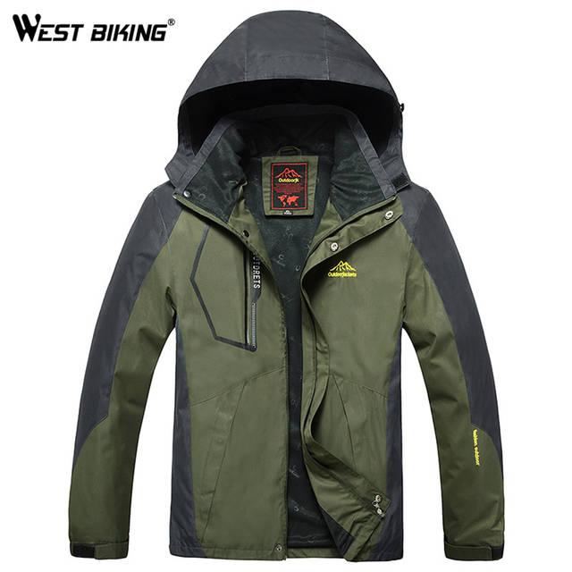 b64c97b84e WEST BIKING Men Winter Waterproof Windproof Hooded Jacket Outdoor Sport Warm  Large Size Hiking Cycling Mountain