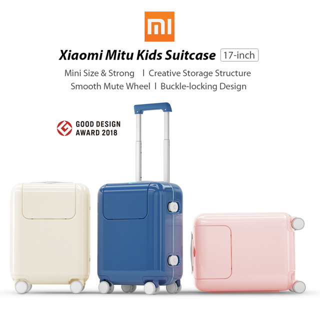 Xiaomi Mitu Suitcase Kids Travel Luggage Suitcase 17Inch Trolley Wheeled Suitcase With Cartoon Sticker For Girls Boys Traveling