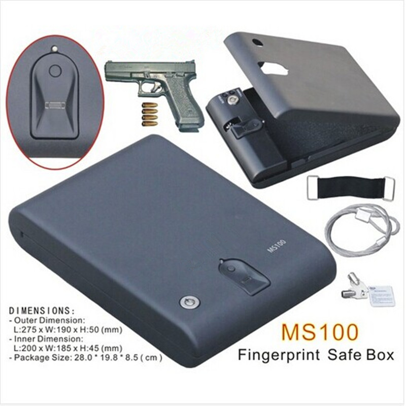 Wholesale MS100 Biometric Fingerprint Safe Box Key Gun Vault Jewelry Box Cable Portable Hot New Creative best gift