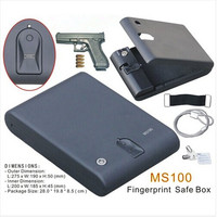 Wholesale MS100 Biometric Fingerprint Safe Box Key Gun Vault Jewelry Box Cable Portable Hot New Creative best gift