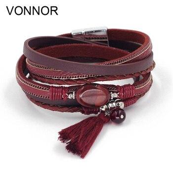 VONNOR Jewelry Boho Bracelets for Women Leather Wrap Bracelet Stone Tassel Charm Bracelets autumn Winter Femme Accessories