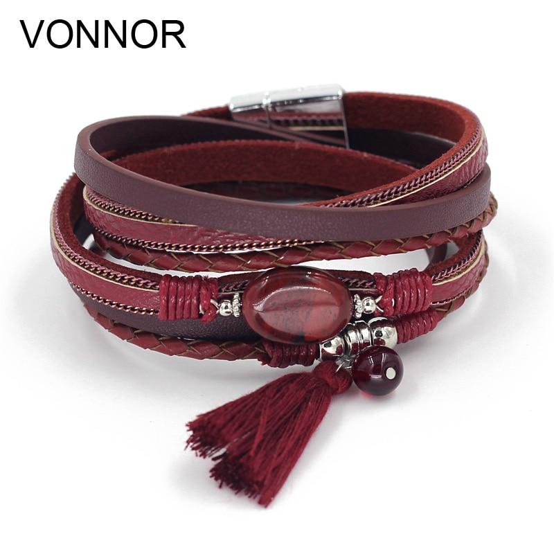 VONNOR Jewelry Boho Bracelets for Women Leather Wrap Bracelet Stone Tassel Charm Bracelets autumn Winter Femme Accessories цена 2017
