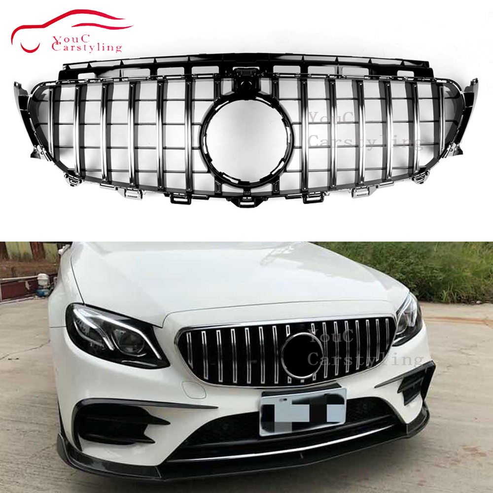 Front <font><b>Grille</b></font> Suitable for Mercedes W117 A W176 W177 C class <font><b>W204</b></font> W205 E W207 W212 W213 GLC X253 GT Style <font><b>Grille</b></font> GTR Car Styling image