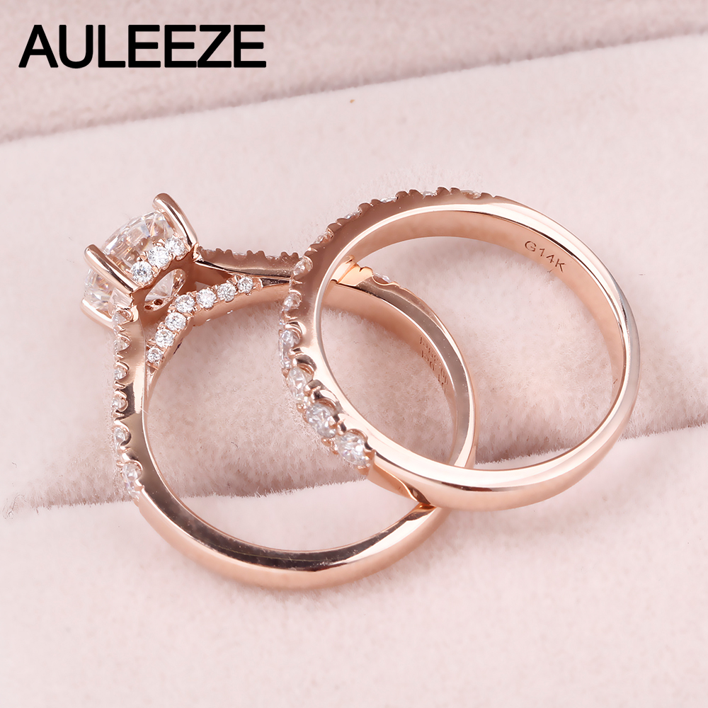 AULEEZE 1CT Moissanites Bridal Wedding Sets 14K Solid White Gold ...