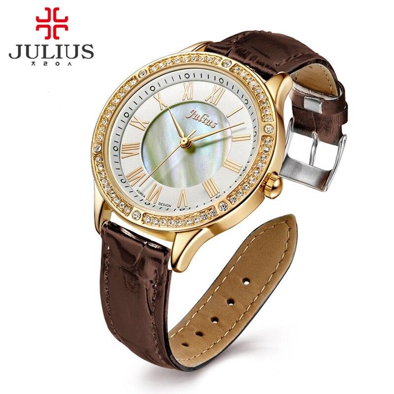 Julius Women s Lady Wrist Watch Quartz Hours Best Fashion Dress Bracelet Band Shell Leather Rhinestone