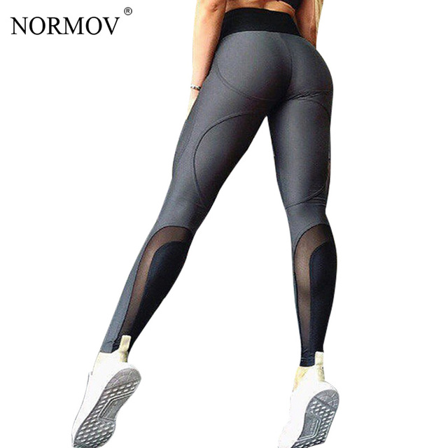 ccc67ef7a15f1 NORMOV Mesh Leggings Women Gothic Solid Black Push Up Pants Fitness  Clothing Female Patchwork Activewear Sexy Trousers 3 Color