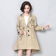 08b2d049cda COIGARSAM Plus Size 2018 Casual Women Trench Coat Loose Print Fat Younger  Sister Long