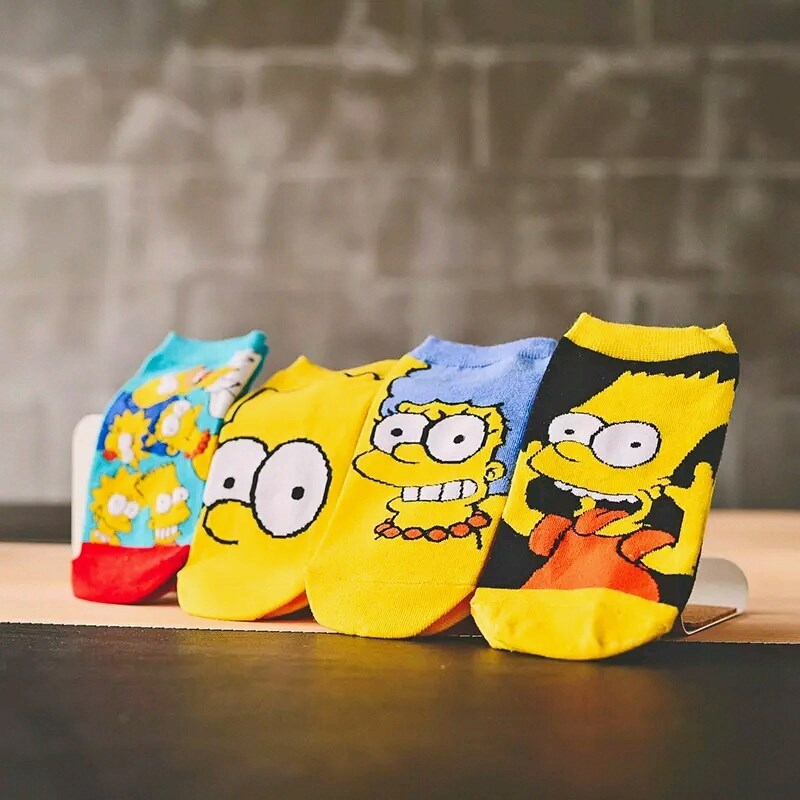 4Pairs Summer Women/Children Cartoon Cute Funny Cotton Socks Simpsons Family Novelty Boat Socks