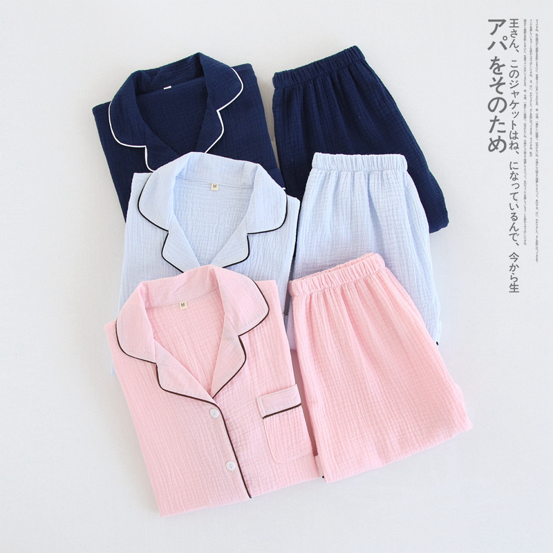 Image 2 - Navy blue crape 100% cotton short pajamas sets women summer Sexy pure color pijamas mujer pyjamas women casual indoorwear-in Pajama Sets from Underwear & Sleepwears