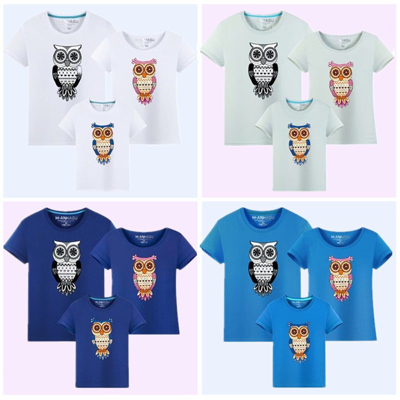 1Piece Family Matching Clothes 2017 Summer New Cartoon Owl Print - Children's Clothing - Photo 3