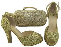 2018 New Fashion Gold Color Italian Shoes With Matching Bags For African  Shoes And Bags Set 3ba9b4c4c430