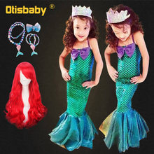 Birthday Party Kids Ariel Dress Tube Top Off Shoulder Mermaid Dresses for Little Girls Sequin Girl Princess Costume