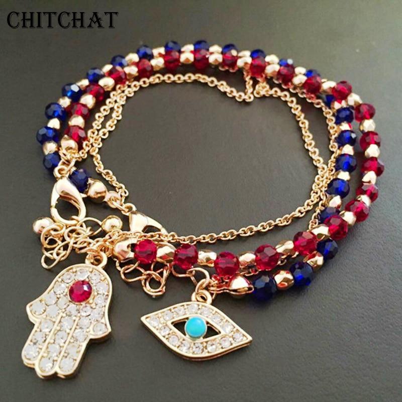 Turkey Eye Hand of Fatima Bracelets Rhinestone Crystal Stone Handmake Beads Multi-layer Bangle For Lucky Birthday Gifts