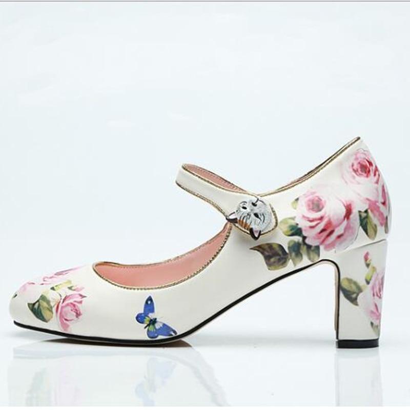 Arrivent Mariage Hauts Pompes De Rose Dames Rond Talons Janes Bout Nouveau Mary Impression Floral Partie Chaussures 2019 Chunky UBR5nvqR