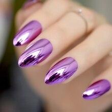 24 шт., однотонные, фиолетовые, металлические, на шпильке, накладные ногти, металлические, в стиле панк, Овальные, острые концы, полностью накладные кончики для ногтей, для салона, для невесты, одежда для ногтей