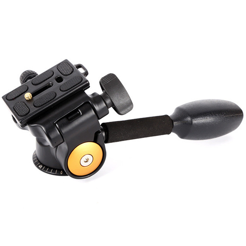 Q08 Video Tripod Ball Head 3 Way Fluid Head Rocker Arm With Quick Release Plate For