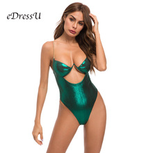 Sexy Women Bodysuits Green Shiny Metallic Chain Straps Swimwear Beach Lady Swimsuits