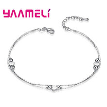 New Fashionable Genuine 925 Sterling Silver Heart Shape Design Barefoot Anklet For Women Girls Jewelry Wholesale(China)