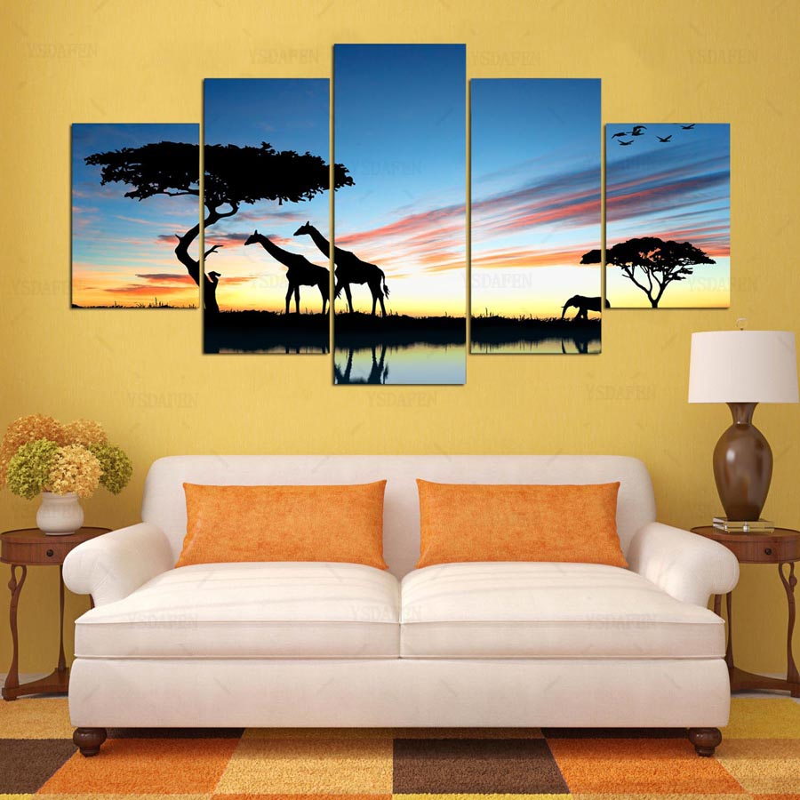 YSDAFEN 5 panel HD printed painting Deer of South Africa canvas home . & Luxury Africa Wall Art Pictures - Wall Art Collections ...