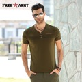 Promotion Men t-shirts Quality Cotton Army Green Casual t-shirt Fitness Slim Military V-neck t-shirt FreeArmy Brand MS-6263A