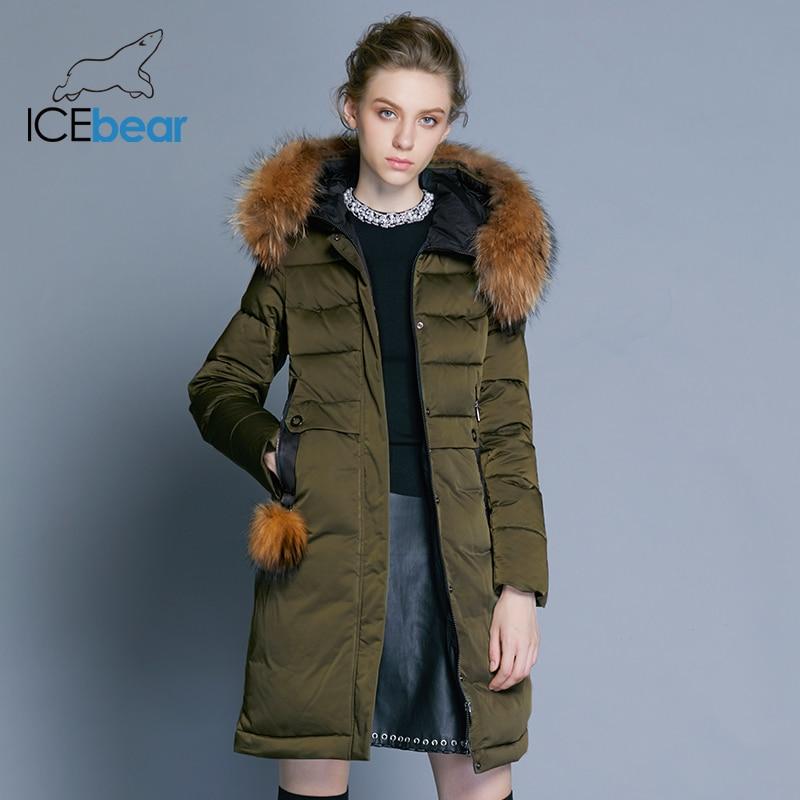 ICEbear 2019 abrigo de invierno para mujer chaqueta femenina delgada larga cuello de piel animal marca ropa gruesa cálida parka GWD18253-in Parkas from Ropa de mujer    3