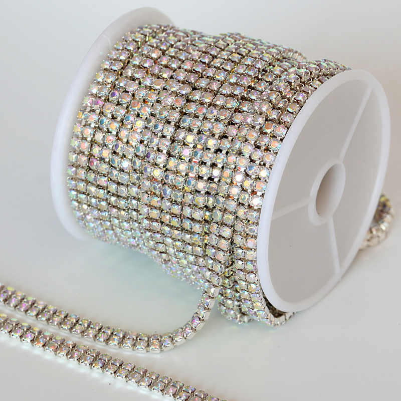 1Yard SS10 Clear Sew On Rhinestones Cup Chain Glue 2-Row Silver claw Rhinestones  Chain 256ea8adaa84