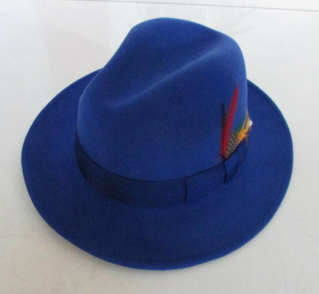f4c283da618c2 Royal Blue Fedora Hat Original Brand New Wool men Panama Hat Gentlemen jazz  large size XL above 60cm casual winter autumn
