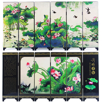 MINI Folding Screens 6 Joined Panels Decorative Painting Wood Byobu Alias Water Lotus Herb Flower Water lilies Green