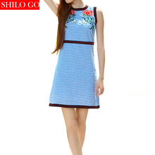 HOT Free shipping 2016 new autumn fashion women high quality garden roses hollow embroidery waist sleeveless dress blue plaid