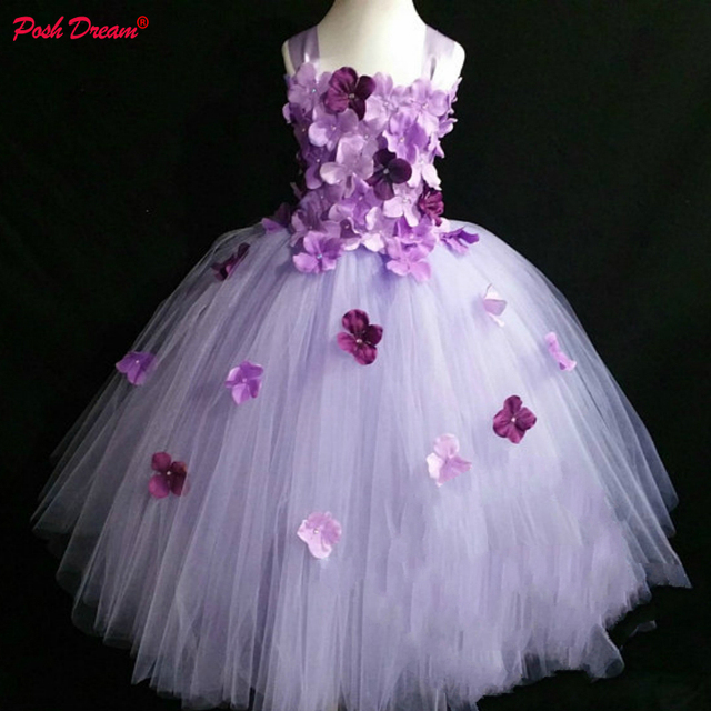 eb6762829a2 POSH DREAM Lavender and Plum Flower Girl Dress for Little Flower Bridesmaid  Girls Wedding Dress Princess Wedding Formal Dress