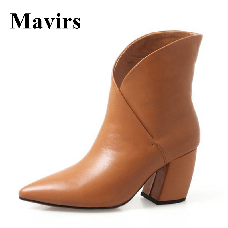 Mavirs Brand Ankle Boots For Women Shoes 2018 Winter 7CM Chunky Genuine Leather High Heels Black Brown Booties US Size 4-10 mavirs brand women ankle boots 2018 pointed toe matt 4 75 inches chunky high heels black gray gold white shoes us size 5 15