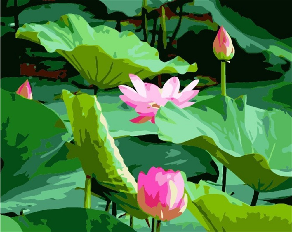 2015 new chinese style diy digital oil painting by numbers hand 2015 new chinese style diy digital oil painting by numbers hand painted abstract lotus flowers paintings on the wall in painting calligraphy from home izmirmasajfo