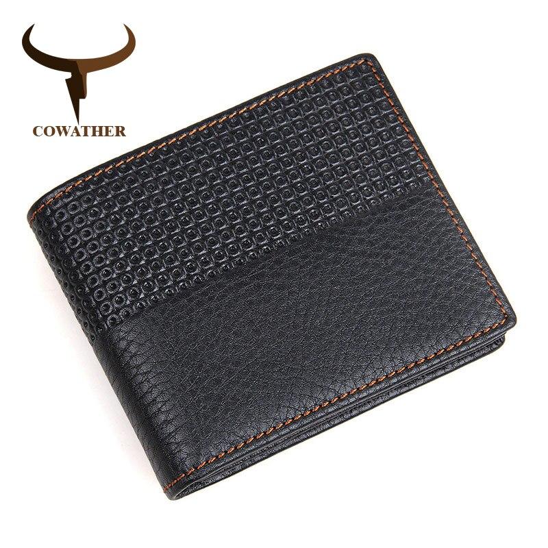 COWATHER 2019 Chaude haute qualité véritable porte-monnaie en cuir hommes Portefeuilles Mode sac de rangement motif 8147