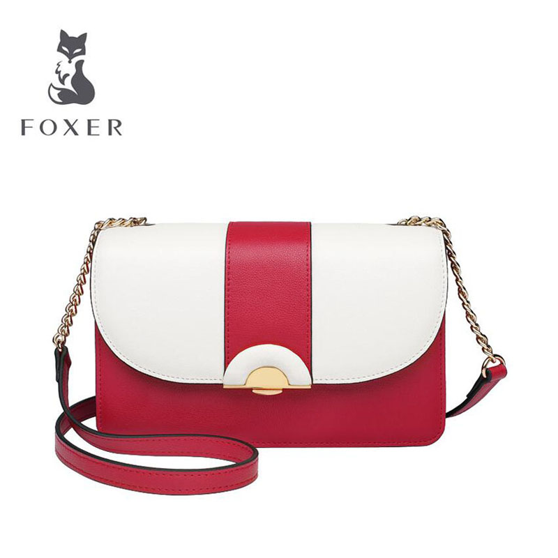 FOXER high quality fashion chain bag female 2019 new summer tide contrast color simple versatile shoulder slung small square bagFOXER high quality fashion chain bag female 2019 new summer tide contrast color simple versatile shoulder slung small square bag