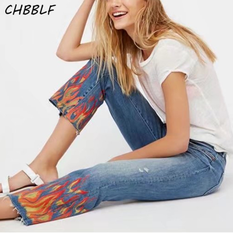 Spring Summer New Flame Print Stretch Jeans Ladies Denim Jeans Womens Qsq373 554 new flame