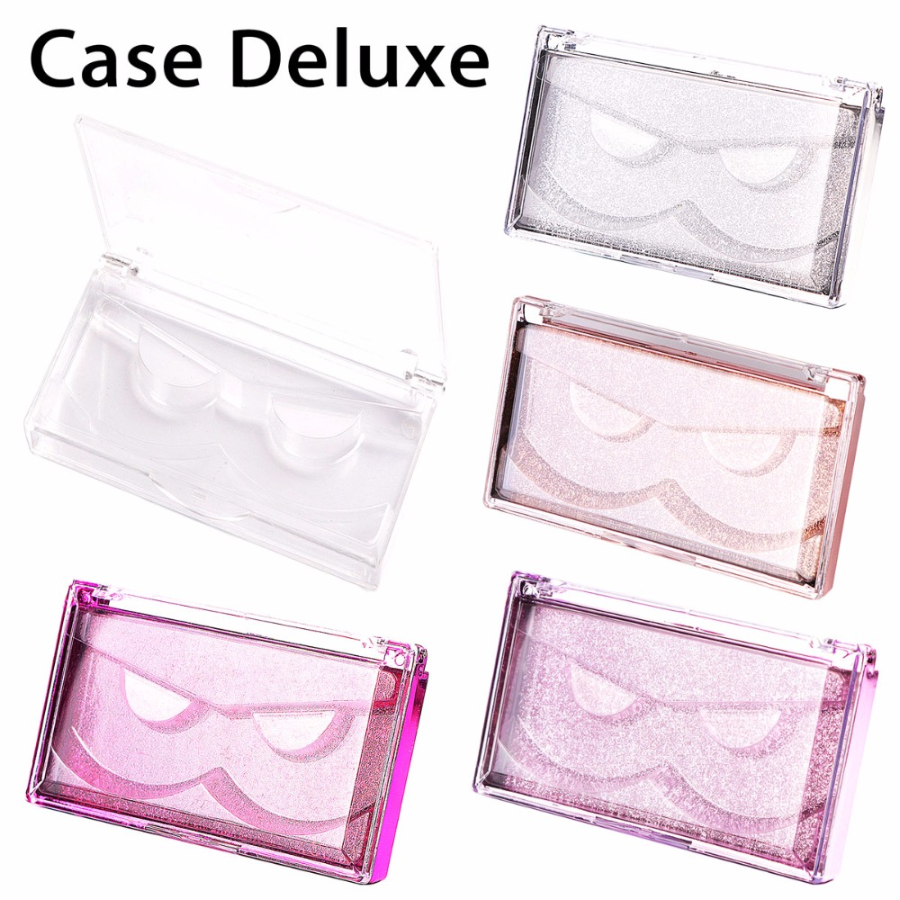 Big Size Glitter Cases For Strip Eyelashes Professional Case For Mink Lashes Deluxe Rectangle Lash Cases