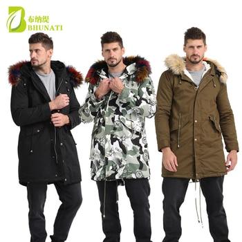 Mens Fur Coat Hood Fur Detachable Long Sleeve Winter Men Winter Faux Fur Solid Raccoon Fur Jacket Men Casual Parka