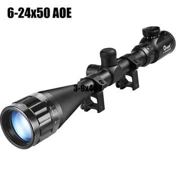 CVLIFE Tactical Rifle Scope 3-9X40 E / 6-24X50 AOE Red Green Illuminated Optics Hunting Scopes w/ 20mm Mounts