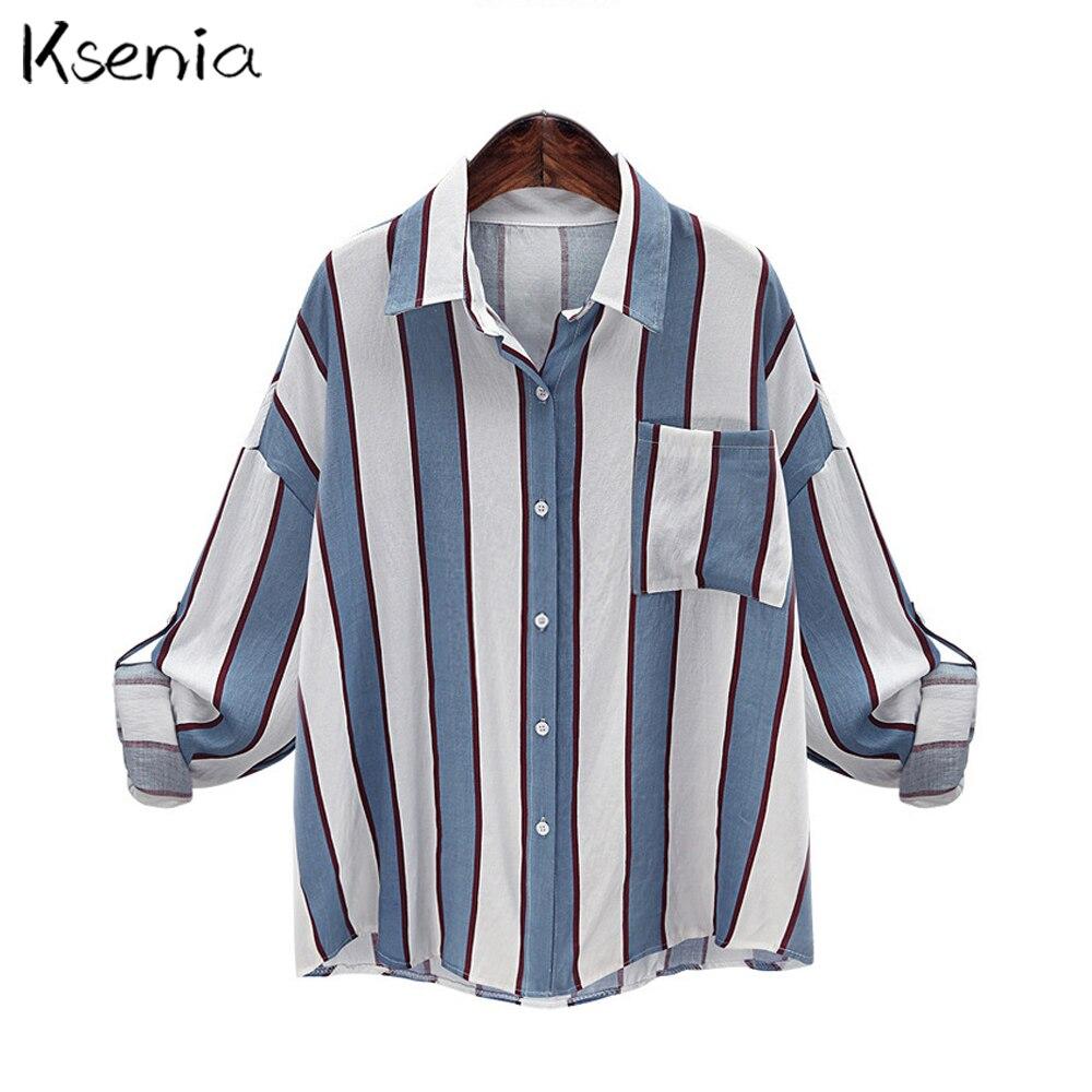 Ksenia 2017 Moda Rayas Turn down collar Blusa Casual Mujeres Camiseta Tops Suelt