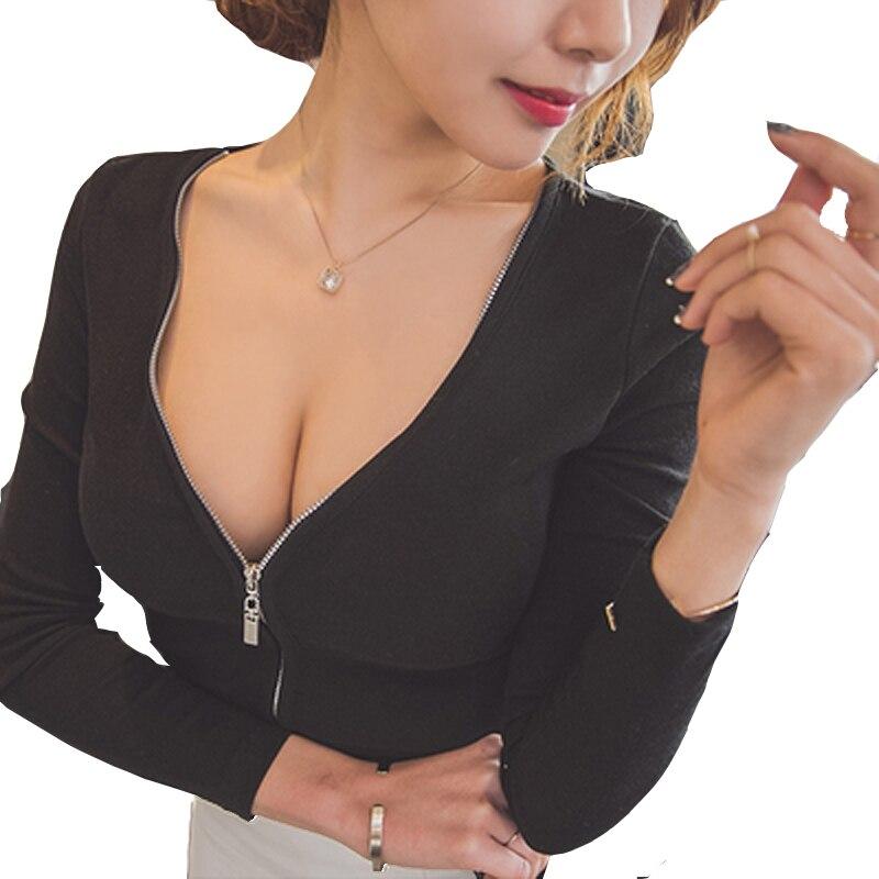 2018 Sexy V Neck Front Zipper T Shirt Women Brand Crop Tops Long