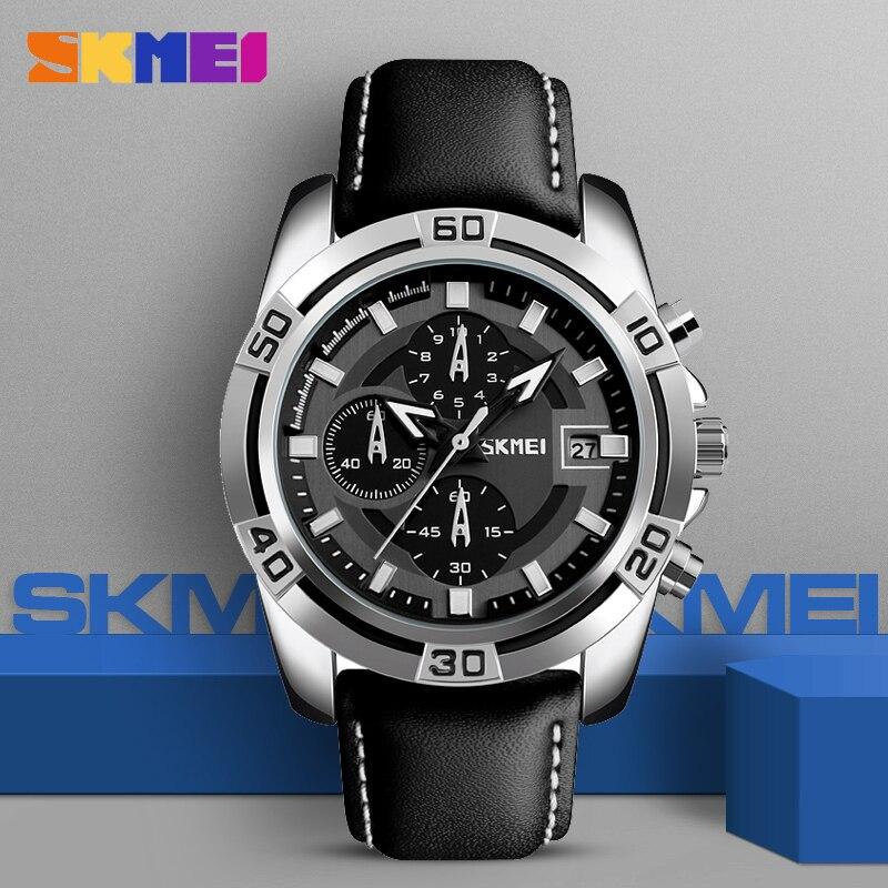 SKMEI Watches Men Top Brand Luxury Military Quartz Watch Leather Famous Sports Wristwatch Waterproof 3 ATM Relogio Masculino