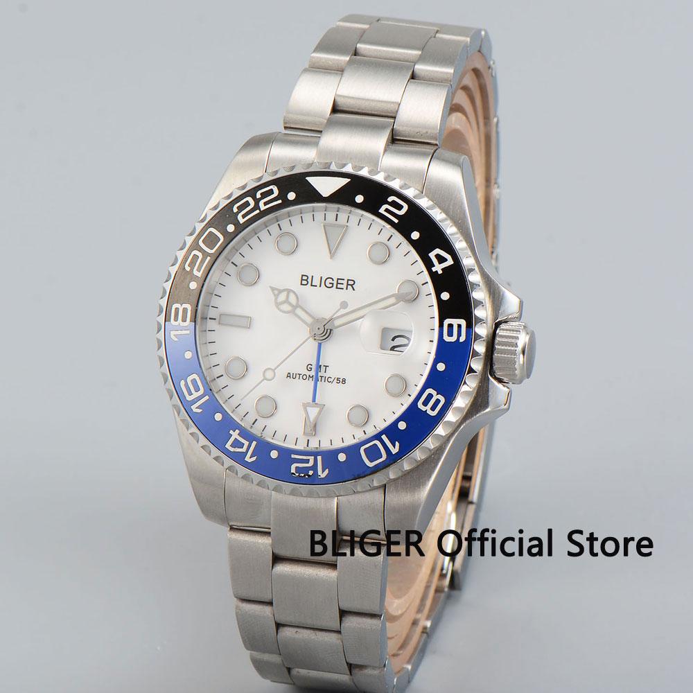 Sapphire Crystal 43mm BLIGER White Dial Black Blue Ceramic Bezel Blue GMT Pointer Luminous Automatic Movement Men's Watch B25