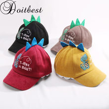 Doitbest 2-8 Years old Spring summer Children Baseball Cap Boys Girls Cartoon Dinosaur Corduroy Kid Hip Hop Hat Sun Snapback cap(China)
