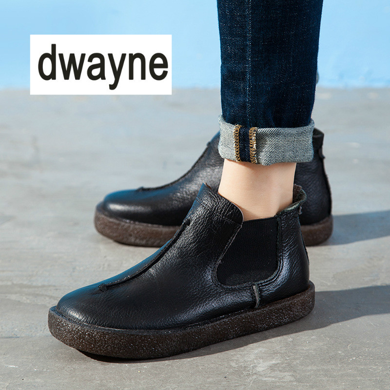 2018 Women England Style Brand New Women Genuine Leather Flat Boots Shoes for Lady Autumn Ankle Boots Winter Martin Boots