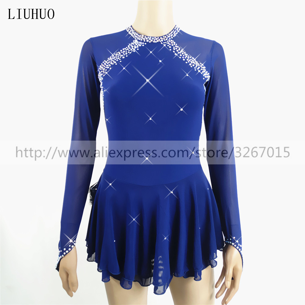 Figure Skating Dress Women's Girls' Ice Skating Dress Roller skating Competition Long sleeve Dark blue Classic style