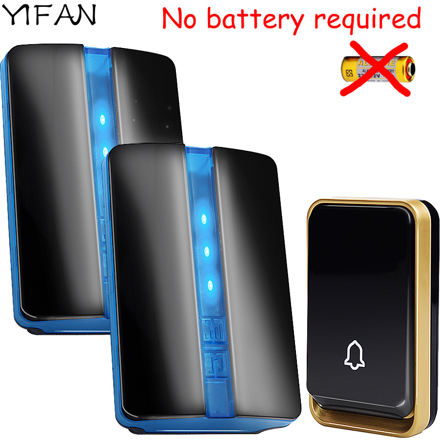 YIFAN Self-powered Wireless Doorbell NO battery Waterproof EU Plug 150M long range home Door Bell 110V 220V 1 button 2 receiver solar energy wireless doorbell household self generating electric bell waterproof long distance calling device us eu